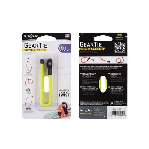 "Nite-Ize Multipurpose Gear Tie 6"" with a Loop 2pcs. Yellow"